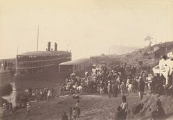 Scene on the river bank at Theyetmyo, the frontier station, on the Irrawaddy, of Lower Burmah